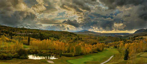 colorado outside panorama sunset telluride mountainvillage fallcolor autumn mountains snow trees aspens clouds ngc