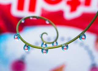 Nutella Christmas design refracted in droplets!
