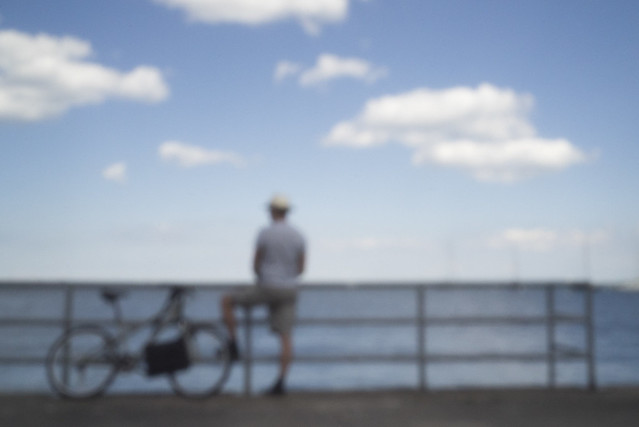 Bicyclist by the Lake