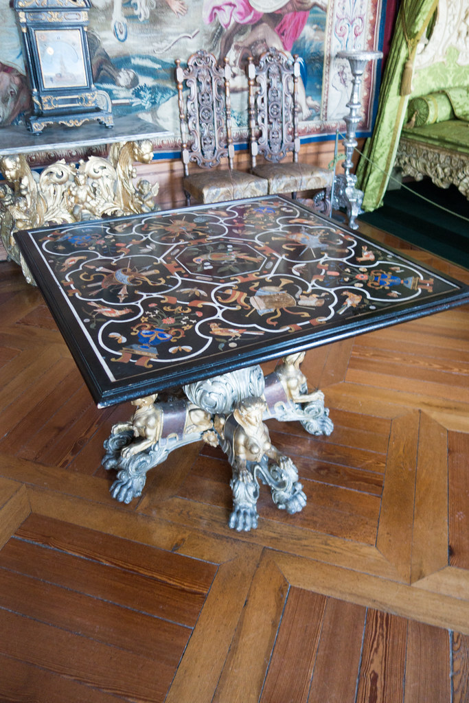 Royal table with elaborate marquetry