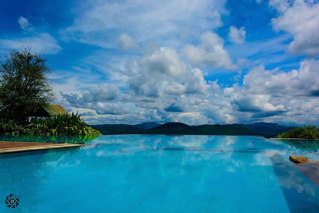 View from top of Nature Lovers Inn. #TKclicks #wanderlust #beautifullanka #pool #infinitypool #mountains #nature #skyporn
