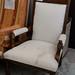 Ornate high back armchair cream fabric E115