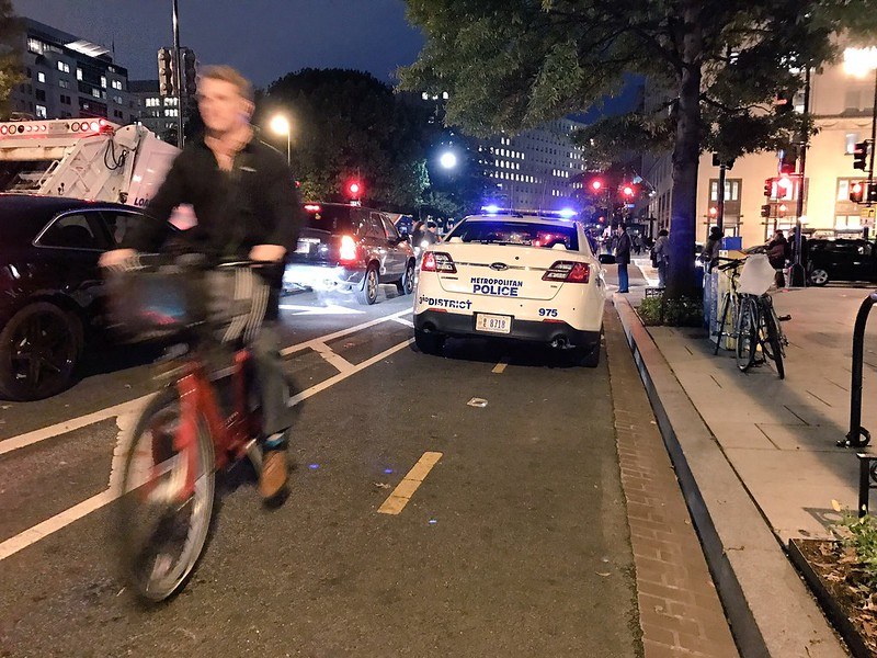 MPD blocks the bike lane at 15th and K
