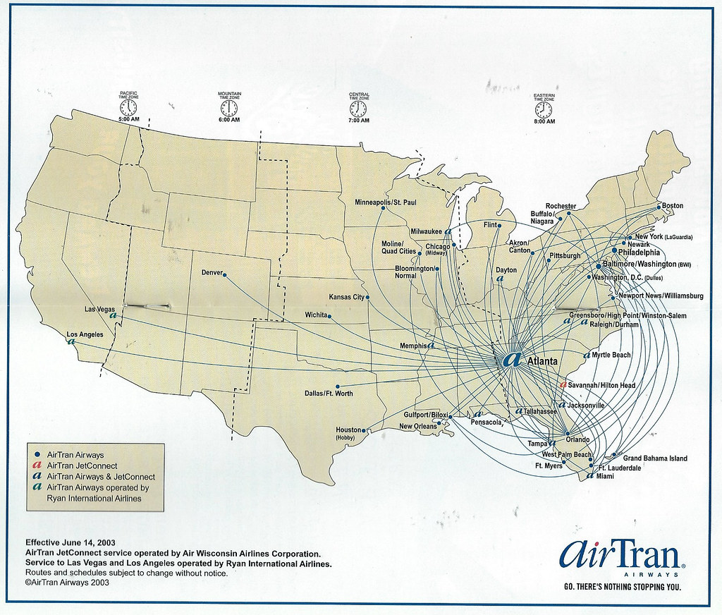 AirTran route map, 2003 | AirTran Airways route map from a 1 ... on transportation route maps, delta airlines international maps, airline flights, shipping route maps, railroad route maps, expressjet route maps, klm route maps, airline malaysia airbus a380, stagecoach route maps, airline british airways, flight route maps, jetblue route maps, airline schedules, delta global route maps, airline fares, airline jobs, air route maps, tour operator route maps,