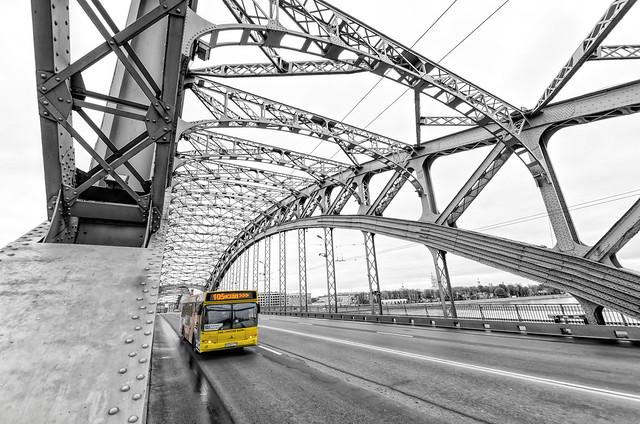 Saint Petersburg, Russia. A bus on Bolsheokhtinsky bridge