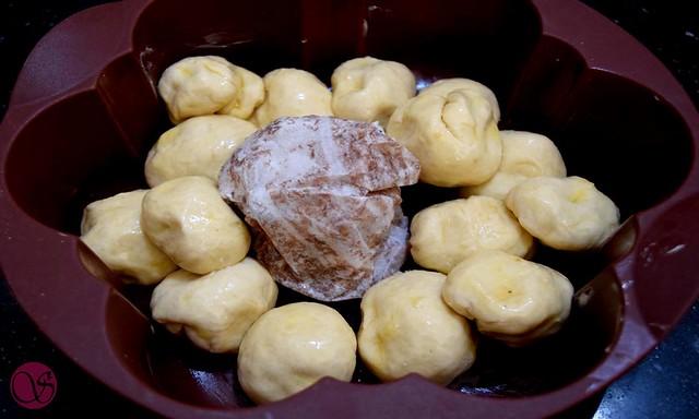 Monkey Bread arranged dough balls