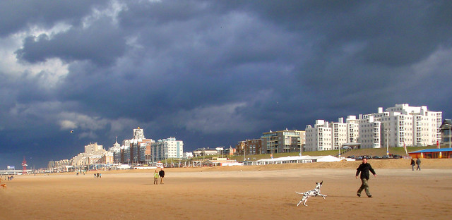 dark clouds above the beach
