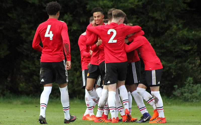 United's youngsters celebrate another goal