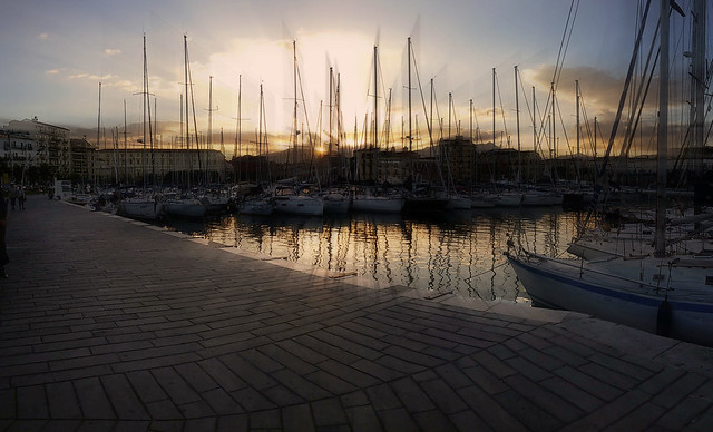 Sunset in sailboats harbour