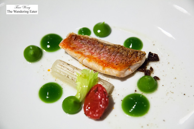 5th course - Red mullet with celery and caper sauce