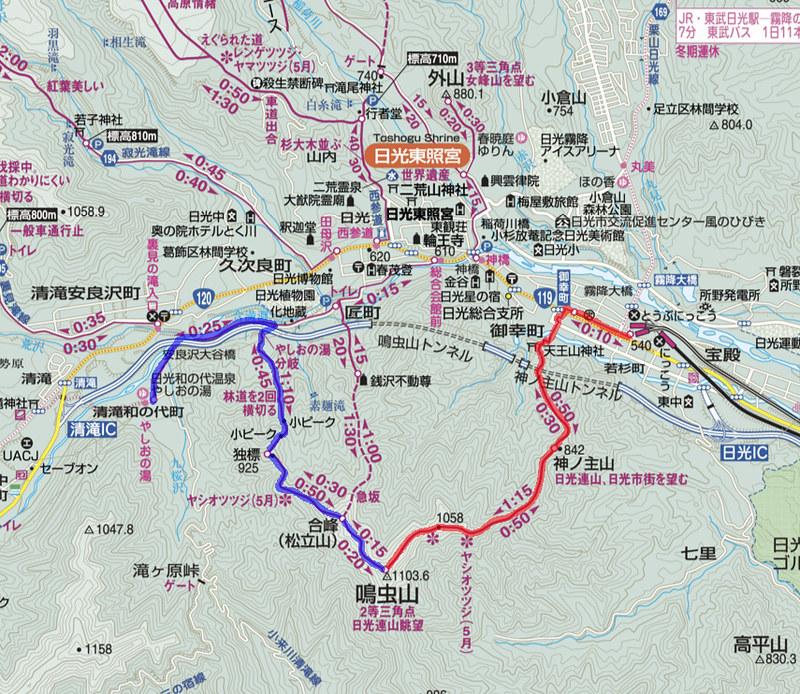 鳴虫山地図