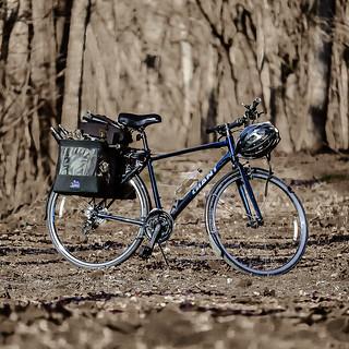 Blue bike in sepia bokeh