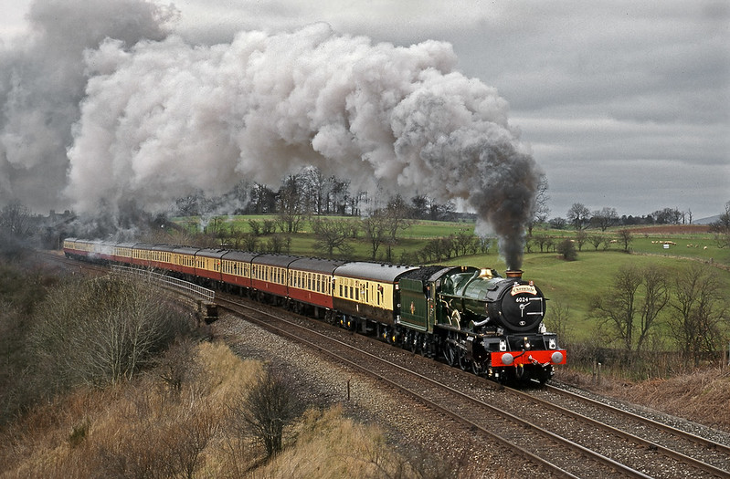 6024 King Edward I passing Long Marton on its way south from Carlisle. 14 March 1998.