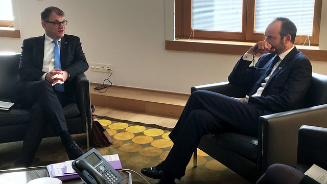 Prime Minister Juha Sipilä met the Prime Minister of France Édouard Philippe in Brussels on 24 November 2017
