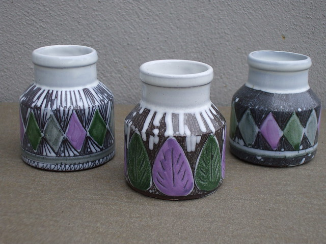 Three Laholm Sgraffito Patterned Gray White Green Lavender Vases Mid Century Modern Made in Sweden