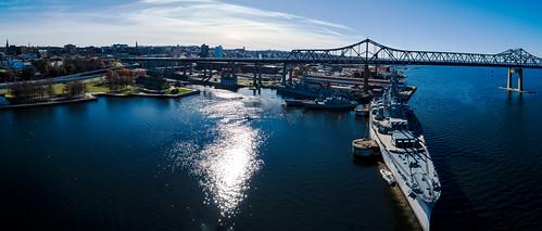 fallriver battleshipcove battleship massachusetts naval pano panorama stitch braga bridge