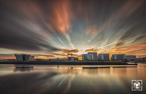 titanic belfast sunrise longexposure landscape clouds colours golden harbour expresive view panorama