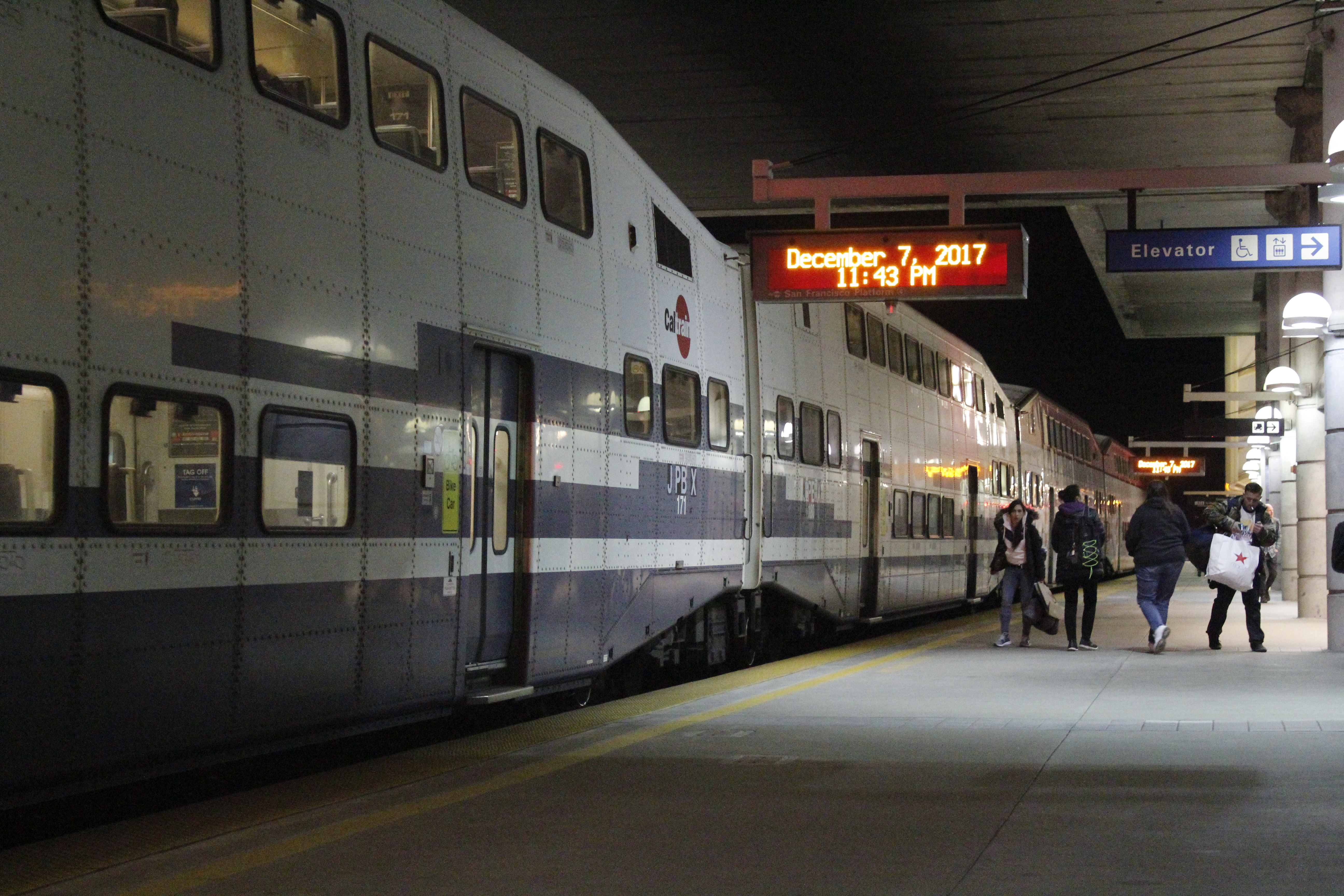 Two ex-Metrolink Bombardier Bilevel cars operating on a northbound trip to San Francisco at Millbrae Station