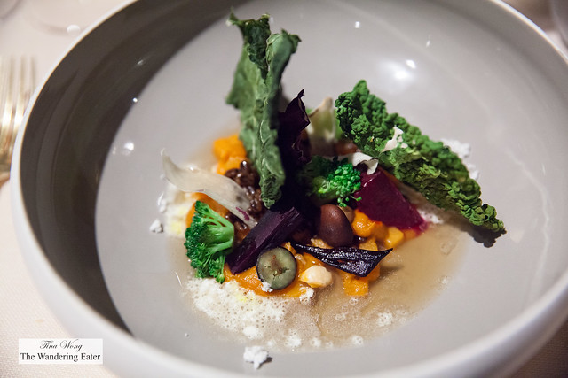 Autumn Garden dred savoy cabbage chips, chestnut powder, beets, red beans, carrots