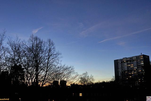sunset panorama mit block