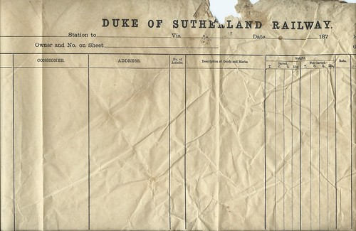 Duke of Sutherland Railway waybill 1870 | by ian.dinmore