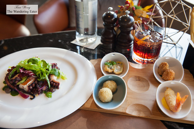 Negroni Speziato, Grilled octopus, Taggiasca black olives, potato and .red onion from Tropea, Selection of four 'cicchetti'