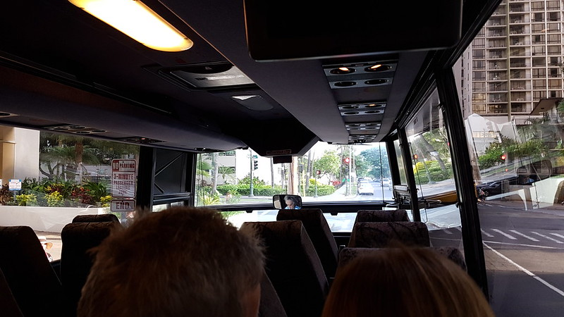 On the Grey Line Bus to Pearl Harbour
