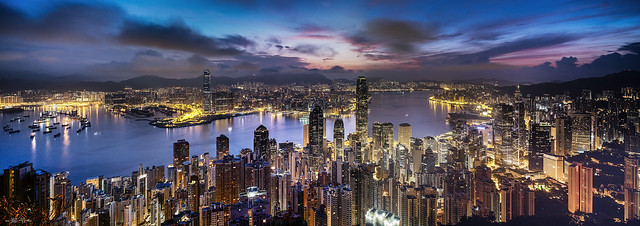 Victoria Harbour Sunrise From Lugard Road 617 Pano 01 - 12-Aug-2015