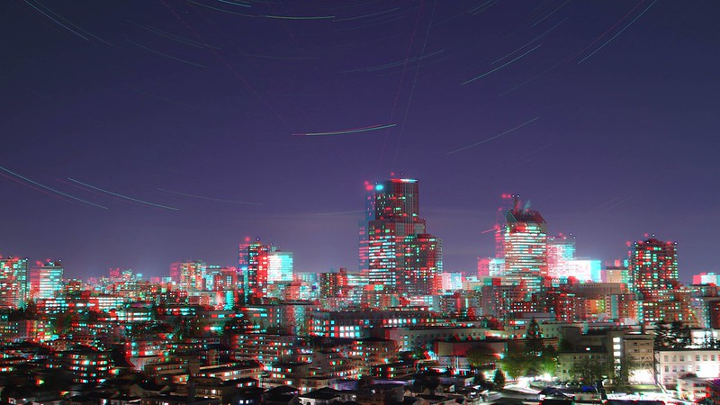 Night view of central of Sendai with stars, anaglyph