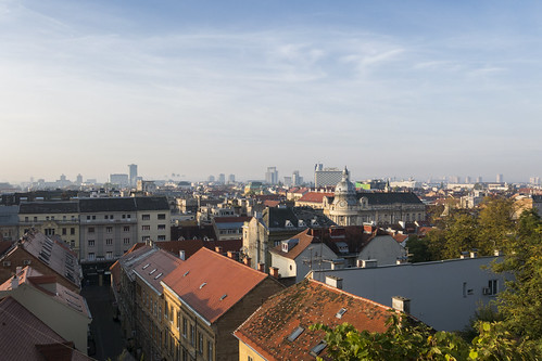upper town old city zagreb view cityscape scene sun morning early roof red buildings architecture croatia canon powershot g15