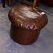Circular leatherette poof E25