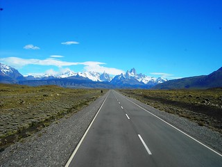 Argentina. Patagonia. The road into El Chalten. The Andes in the background.