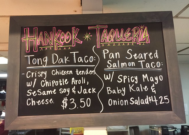 Eating dinner at the Hankook Taqueria.