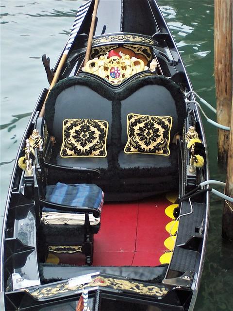 The lavish interior of a gondola