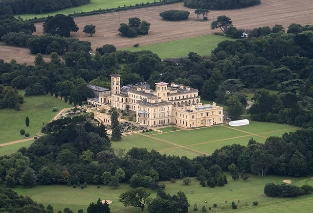Former royal residence, built by Queen Victoria and Prince Albert built between 1845 and 1851. Osborne House in East Cowes - Isle of Wight - UK aerial image