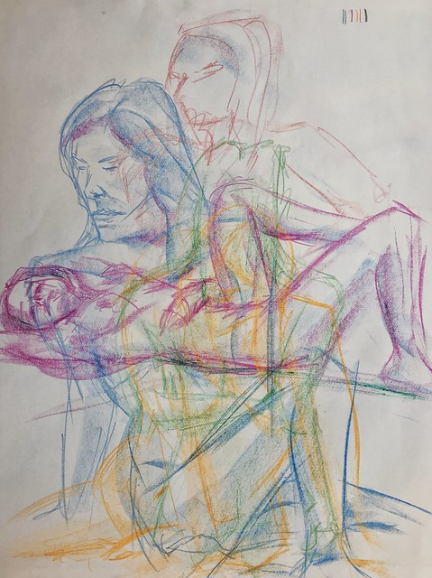 CCAC 12.2.17 #lifedrawing in#crayon warm up drawings