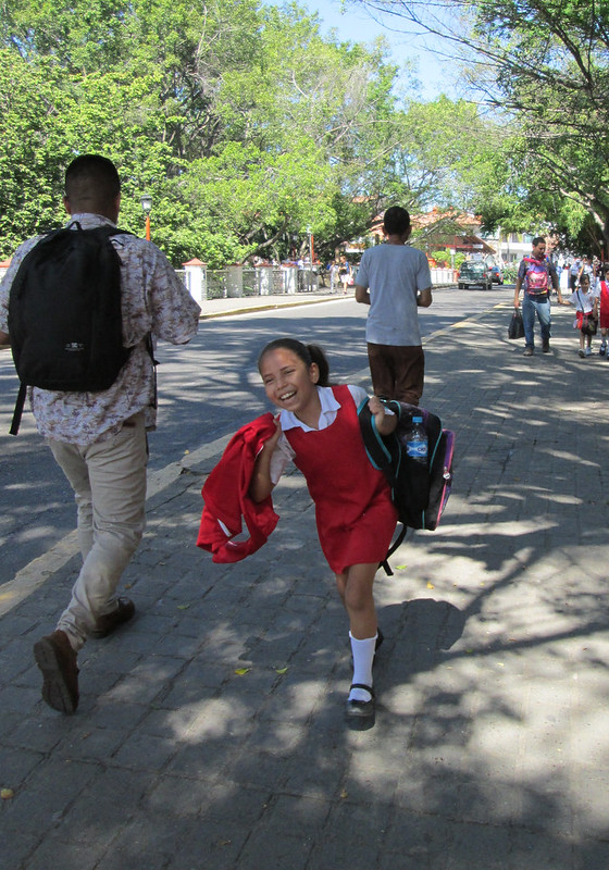 Small girl, red school uniform