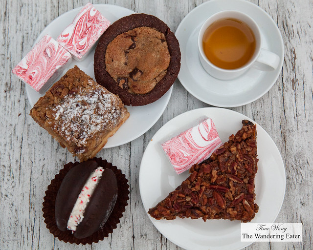 Peppermint whoopie pie, apple crumb pie, Brookster (brownie and a chocolate chunk cookie baked together), Pecan chcolate bar