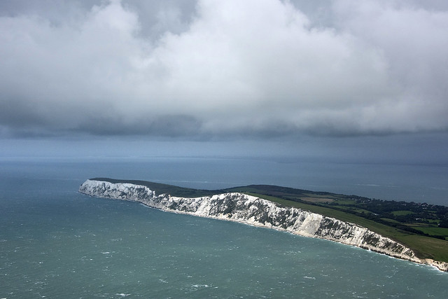 Flying towards the The Needles Headland & Tennyson Down on the Isle of Wight
