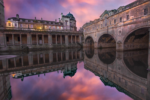 bath pulteneybridge sunrise reflections grandparade riveravon