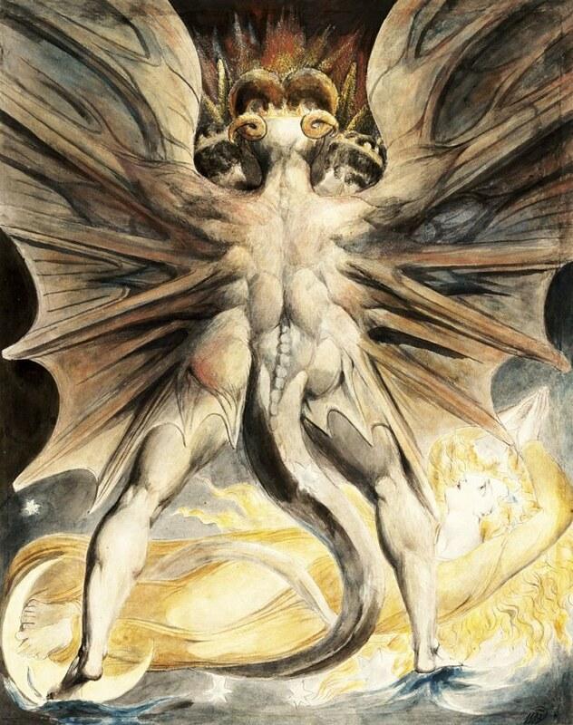William Blake, Der große Rote Drache und die Frau, mit der Sonne bekleidet / The big red dragon and the worman clothed with the sun (1803 - 05)