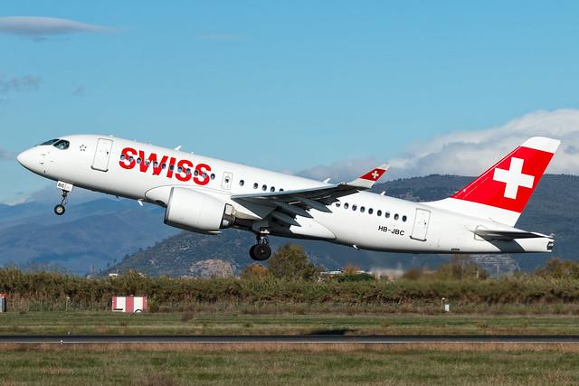 Swiss Bombardier CSeries CS100 HB-JBC - Florence Peretola Airport