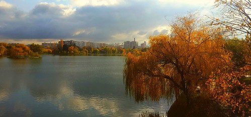 lake autumncolors park sky clouds trees