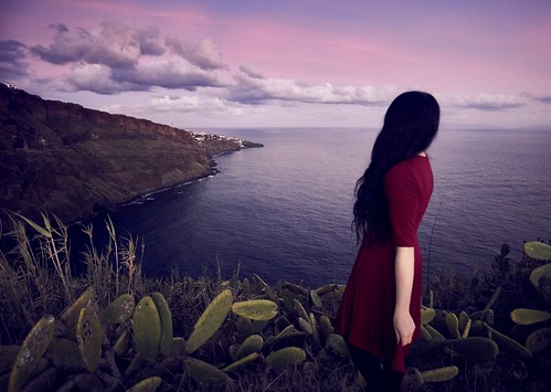 madeira madera island sunset magic europe girl woman portrait dress leandscape exotic ocean sky slouds brunette female beautiful view portugal moody peace calm person people