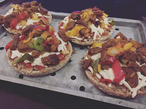 Vegan English Muffin Sausage & Pepper Pizzas