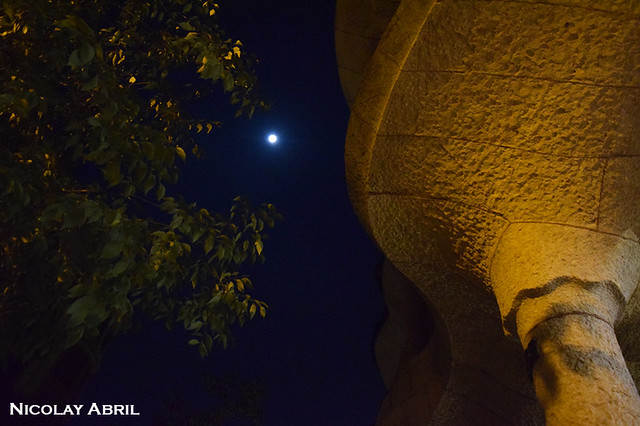 Full moon and Barcelona's La Pedrera