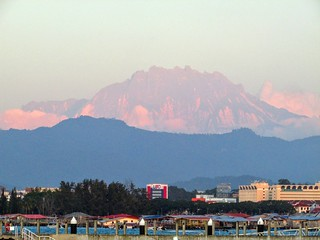 View of Mount Kinabalu from Kota Kinabalu At Sunset