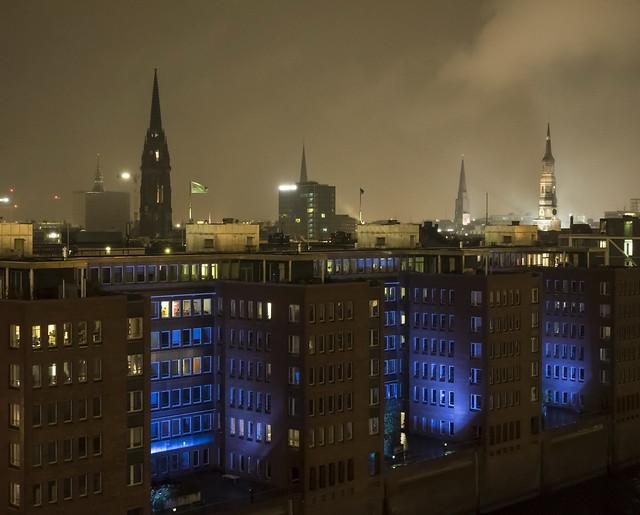 A nightly view of Hamburg