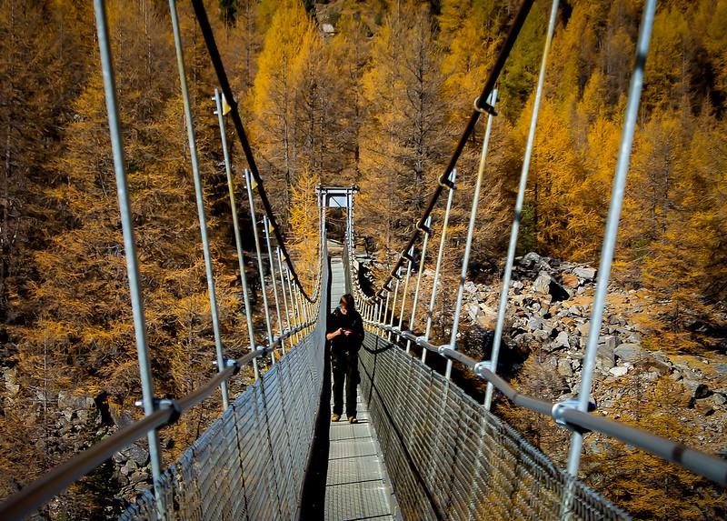 The world's longest pedestrian bridge stretching across a valley between #Grächen and #Zermatt, along the #Europaweg foot trail