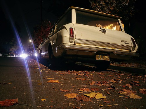plymouth valiant white car old night street dark fall autumn leaves fallen lg lgg6 classic groundlevel road longexposure